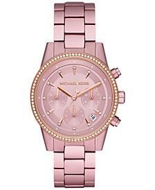 Women's Chronograph Ritz Pink Aluminum Bracelet Watch 37mm