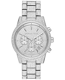 Women's Chronograph Ritz Stainless Steel Pavé Bracelet Watch 41mm