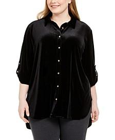Plus Size Velvet Boyfriend Tunic Shirt