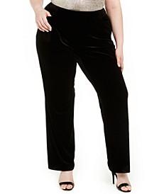 Plus Size Pull-On Velvet Pants