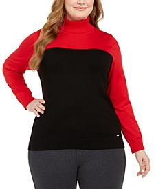 Plus Size Colorblocked Turtleneck Sweater