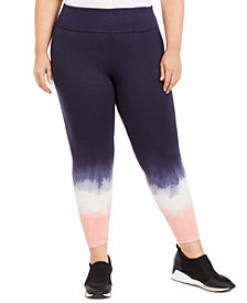 Ideology Plus Size Blurred Tie-Dyed Leggings, Created For Macy's