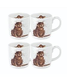 Wrendale River Gent Otter Mug Set/4