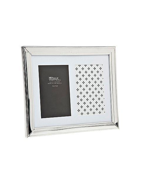 "Philip Whitney Plain Silver W Fine Bead Frame - 2"" x 6"""