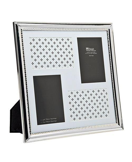 "Philip Whitney Silver Polish W Bead Frame - 4"" x 6"""