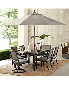 """Marlough II Outdoor Aluminum 7-Pc. Dining Set (84"""" x 42"""" Dining Table, 4 Dining Chairs and 2 Swivel Rockers) with Sunbrella Cushions, Created for Macy's"""