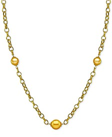 "Cultured Golden South Sea Pearl (10mm) 19-1/2"" Station Necklace in 18k Gold-Plated Sterling Silver"
