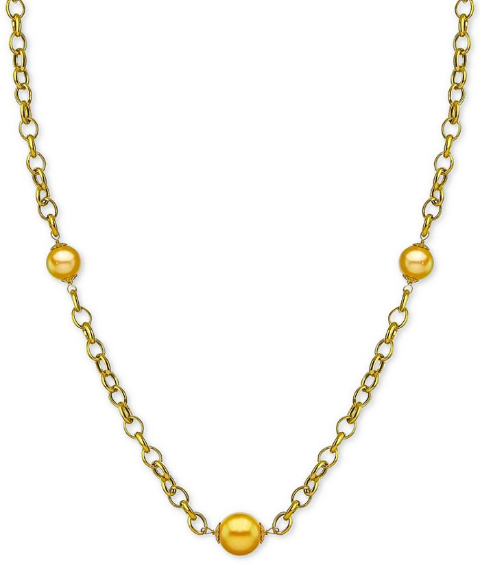 """Macy's - Cultured Golden South Sea Pearl (10mm) 19-1/2"""" Station Necklace in 18k Gold-Plated Sterling Silver"""