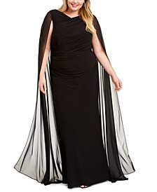 Plus Size Chiffon Cape Gown