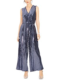V-Neck Belted Sequined Jumpsuit