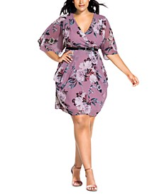 Trendy Plus Size Belted Faux-Wrap Dress