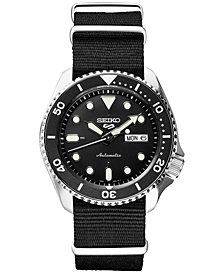 LIMITED EDITION Seiko Men's Automatic 5 Sports Black Nylon Strap Watch 42.5mm, Created for Macy's