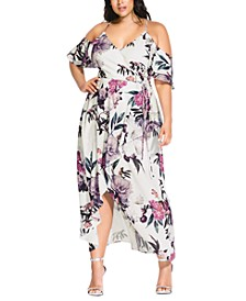 Trendy Plus Size English Garden Cold-Shoulder Maxi Dress