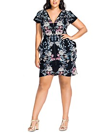 Trendy Plus Size Draped Zip-Front Tunic Dress