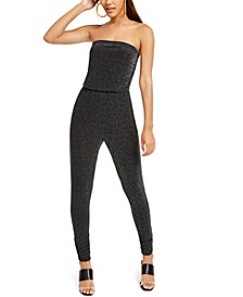 Juniors' Strapless Metallic Jumpsuit