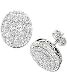 Diamond Oval Cluster Stud Earrings (1/2 ct. t.w.) in Sterling Silver