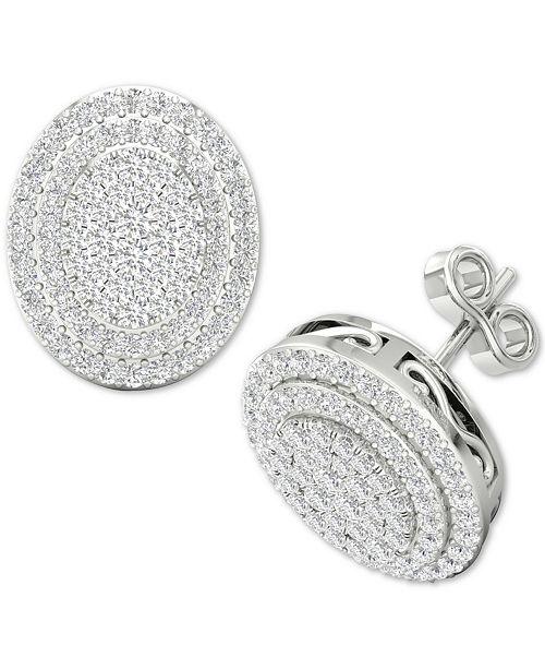 Macy's Diamond Oval Cluster Stud Earrings (1/2 ct. t.w.) in Sterling Silver