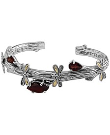 Amethyst (3-1/4 ct. tw.) Sweet Dragonfly Root Tree Cuff Bracelet in Sterling Silver and 18k Yellow Gold (Also Available in Garnet)