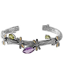 Multi-Gemstone (3-1/4 ct. t.w.) Sweet Dragonfly Root Tree Cuff Bracelet in Sterling Silver and 18k Yellow Gold