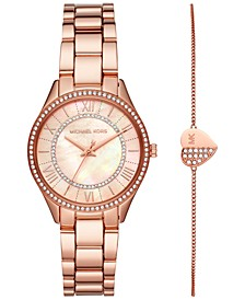 Women's Mini Lauryn Rose Gold-Tone Stainless Steel Bracelet Watch 33mm Gift Set
