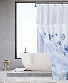 Water Floral Waffle Complete Shower Curtain With Detachable Liner