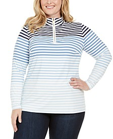 Plus Size Striped Zip-Neck Top, Created for Macy's