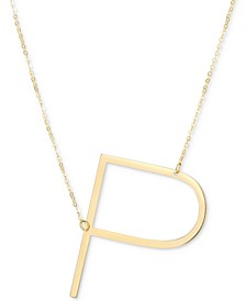 """Initial 18"""" Pendant Necklace in 10k Gold"""