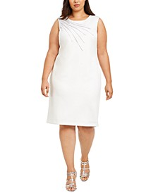 Plus Size Embellished Scuba Sheath Dress