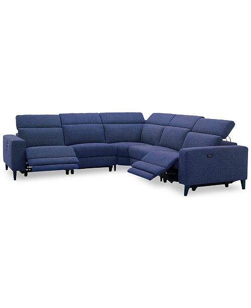 """Furniture Sleannah 5-Pc. Fabric """"L"""" Shape Sectional with 2 Power Recliners"""
