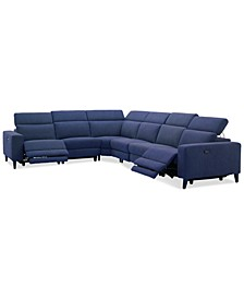 "Sleannah 6-Pc. Fabric ""L"" Shape Sectional with 2 Power Recliners"