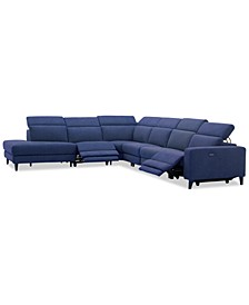 Sleannah 6-Pc. Fabric Bumper Sectional with 2 Power Recliners