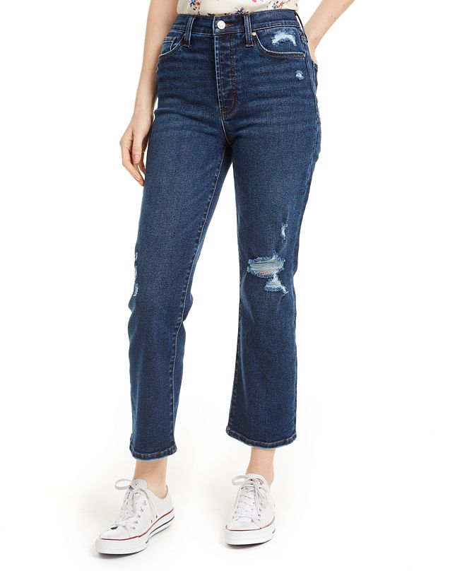 Celebrity Pink Juniors' Distressed Cropped Straight-Leg Jeans