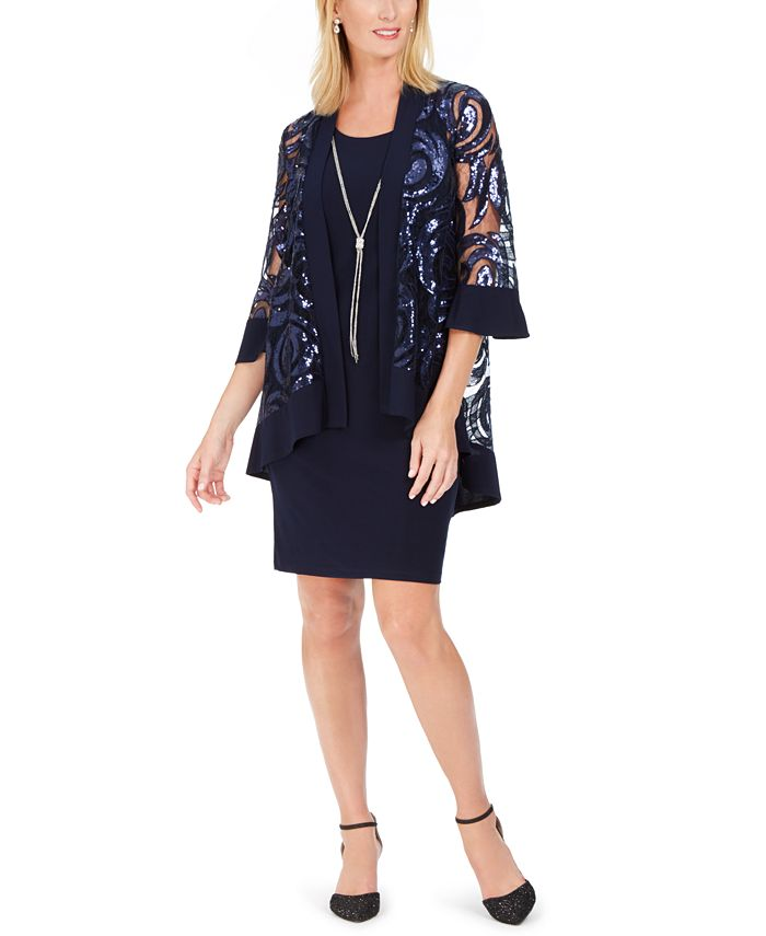 R & M Richards - 2-Pc. Printed Jacket & Necklace Dress