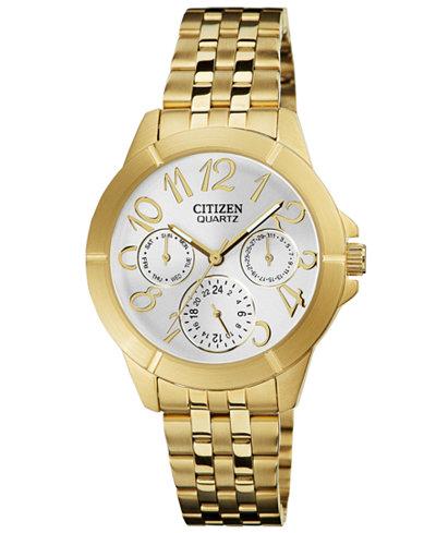 Citizen Women's Gold Tone Stainless Steel Bracelet Watch 35mm ED8102-56A