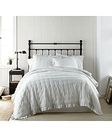 Cotton Voile Ticking Stripe 3 Piece Quilt Set - Full/Queen