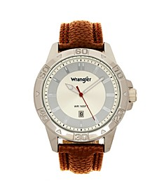 Men's Watch, 46MM Silver Colored Case with Embossed Arabic Numerals on Bezel, Ivory Sunray Dial, Silver Index Markers, Analog, Brown Strap