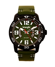 Men's Watch, 48MM IP Black Case with White Printed Arabic Numerals on Outer Black Bezel, Black Dial with Dual Crescent Windows, Date Function, Green Strap with White Accent Stitch Analog