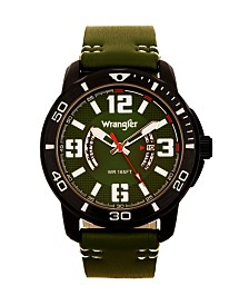 Wrangler Men's Watch, 48MM IP Black Case with White Printed Arabic Numerals on Outer Black Bezel, Black Dial with Dual Crescent Windows, Date Function, Green Strap with White Accent Stitch Analog