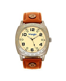 Men's Watch, 44MM IP Grey Cushion Shaped Case, Beige Dial with Black Arabic Numerals, Brown Strap Rivets, Second Hand