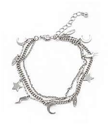 3 Row Chain and Charm Bracelet