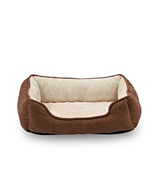 "Orthopedic Rectangle Bolster Pet Bed, 25""x21"" Super Soft Plush Dog Bed"