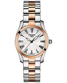 Women's Swiss T-Wave Two-Tone Stainless Steel Bracelet Watch 30mm