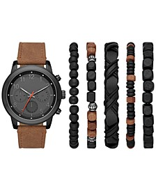 Men's Brown Strap Watch Gift Set 46mm
