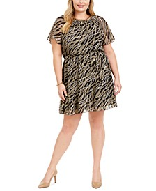 Plus Size Chain-Print Tie-Waist Dress