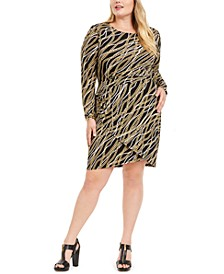 Plus Size Chain-Print Wrap Dress
