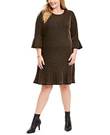 Plus Size Metallic Stripe Dress