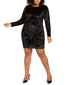 Plus Size Ruffled Crushed Velvet Dress
