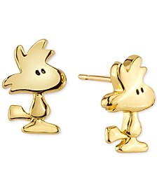 Peanuts Woodstock Stud Earrings in Gold-Tone Sterling Silver