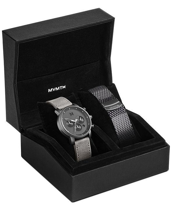 MVMT Men's Chrono 40 Monochrome Asphalt Leather Strap Watch Set 40mm