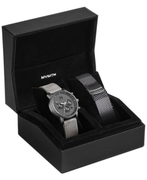 Mvmt The Chrono Chronograph Leather Strap Watch & Mesh Strap Set, 40mm In Grey